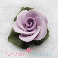 "1"" Rose w/ Icing Leaves -  Lavender (10 per box)"