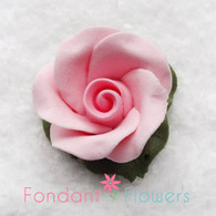 "1"" Rose w/ Icing Leaves -  Pink (10 per box)"