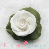 "1"" Rose w/ Icing Leaves -  White (10 per box)"