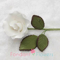"1.25"" Rose on Stem w/ Leaves - Small - White"