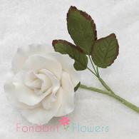 "1.5"" Rose on Stem w/ Leaves - Medium - White"