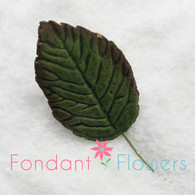 "1.75"" Rose Leaves - Medium - Green w/ Wire (10 per box)"