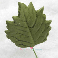 "1.5"" Sunflower Leaves - Medium - Green w/ Wire (10 per box)"