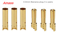 Amass 4.0mm Gold Plated Connectors (Male + Female) 3 pairs