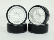CS 1:10 Scale tyre & rim 4pcs TY-002+2063W 3mm offset wheels