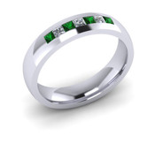 ER005-86 3mm Channel Set Princess Cut Emerald and Diamond Eternity Ring 43pts