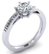 Bespoke Engagement Ring Brilliant cut & Bagettes