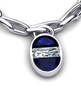 Half Moon Sapphire & Diamond Pendant