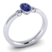 Blue Sapphire Oval 3 stone Engagement Ring