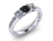 Brilliant Cut 3 Stone Engagement Ring Black Diamond with Diamond Sholders
