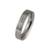 Titanium 4mm Flat Court Ring with Two Different Finishes Equally Divided Across The Ring