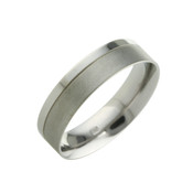 Titanium 6mm Ring Two Thirds and One Third Polished Design