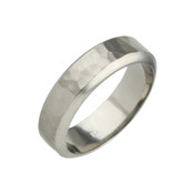 Titanium 6mm Patterned Ring with Bevelled Edges