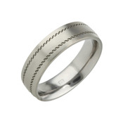 Titanium 6mm Low Court Ring with Black Patterned Lines