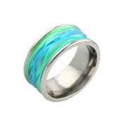 Titanium 10mm Ring with Green/Blue Wavy Pattern