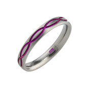 Titanium 3mm Court Ring with Pinky/Red Pattern