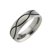 Titanium 6mm Court Ring with Black Pattern