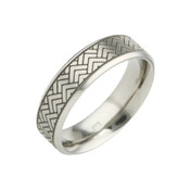 Titanium 6mm Flat Court Patterned Ring with Black Triangle Detail