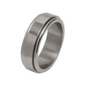 Titanium 8mm Flat Designed Ring with Dropped Edges