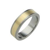 Titanium 6mm Flat Two Colour ring - Titanium & 18ct Yellow Gold