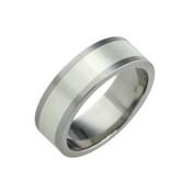 Titanium 8mm Flat Two Colour Rings - Titanium & Silver