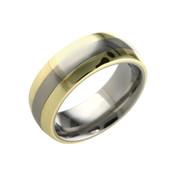 18ct Yellow and Titanium 8mm Ring