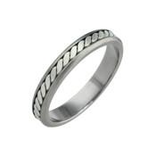 Titanium 4mm Flat Two Colour Ring