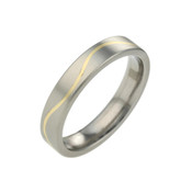 Titanium 4mm Two Colour Flat Top Court Ring