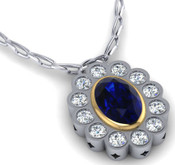 Sapphire and Diamond Rubover Pendant.