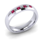 ER021-90 3mm Channel Set Princess Cut Pink Sapphire and Diamond Eternity Ring 43pts