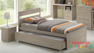 Capri Single Trundle Bed is a very modern and practical bedroom solution for boys or girls with Trundle (can come out either side). Awesome Value! The picture doesn't do the finish justice. Modern laminated white wash finish.
