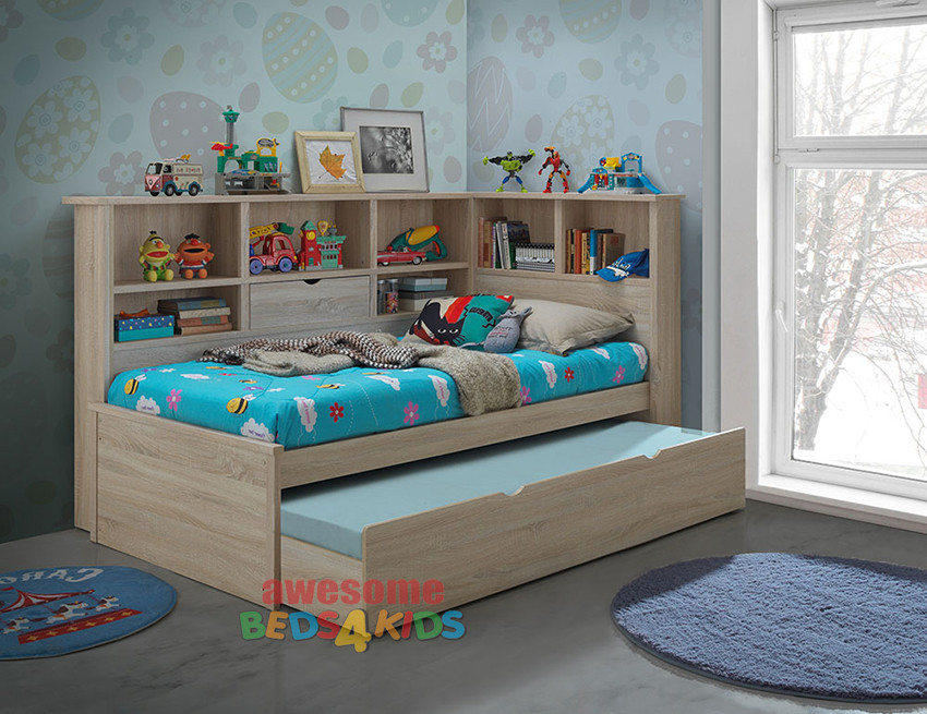 kids shelf put storage beds add room in corner bed an and two ideas boosting single amazing for at angle a