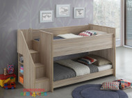Aurora Midi Sleeper with Lower Bed is a very modern and practical bedroom solution for boys or girls. Bed includes easy to climb steps with bookcase and lower single bed.