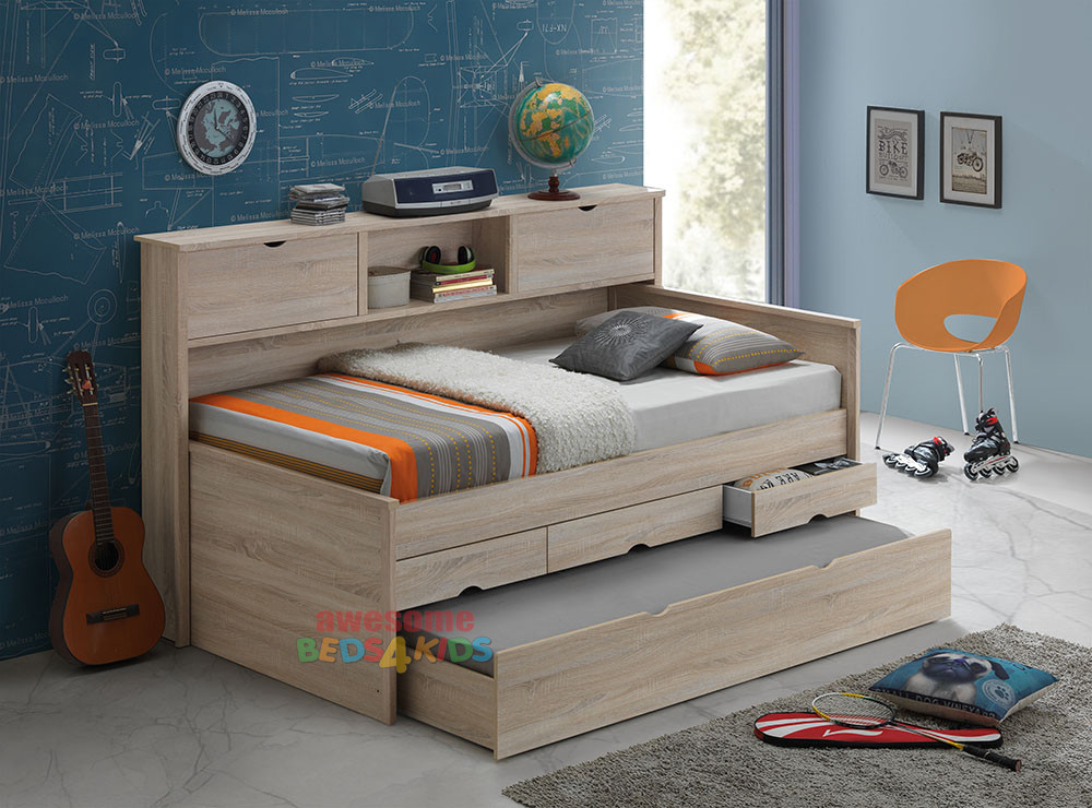 andira king single captains trundle bed with bookcase is a very modern and practical bedroom space