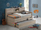 Andira King Single Captains Trundle Bed with Bookcase is a very modern and practical bedroom space saving solution for boys or girls. Bed includes slim line Bedhead / Foot board to reduce bulk and Three Drawers and a Single Trundle, Plus Huge storage bookcase running the length of the bed.