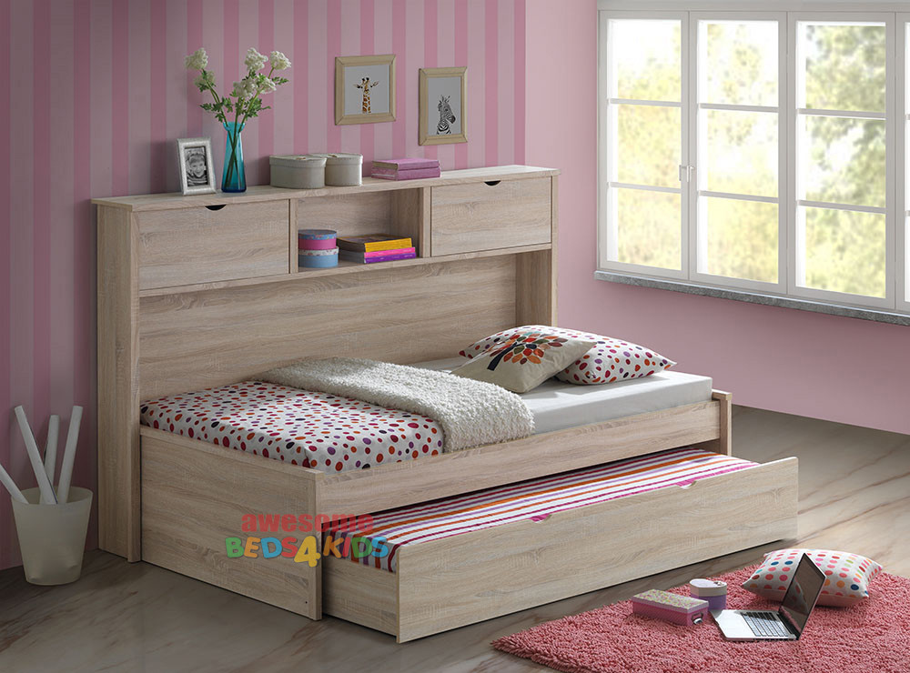 Pepito King Single Captains Trundle Bed With Bookcase Is A Very Modern And Practical Bedroom Space