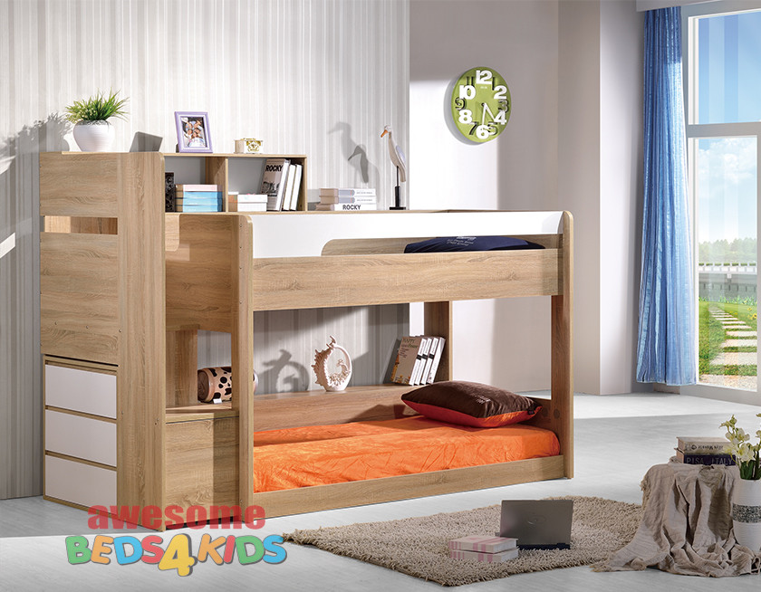 2 springbrook low line bunk bed oak white awesome for Low bunk beds for toddlers