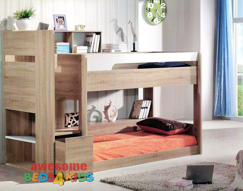Springbrook Low Line Bunk Bed is a great option for space saving with younger kids. Awesome use of space with a bookcase and shelf with easy walk up stairs. Pull out wheel drawer at bottom step to use as a toy box. Available in Oak/White as per picture. Single Only.