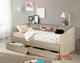 Cairns Day Bed with Under Bed Drawers is a very modern and practical bedroom space saving solution for boys or girls. Great solution for small bedrooms with limited storage. Bed includes bookcase running the length of the  bed and two massive under bed drawers. Awesome Value! Modern laminated light oak colour.
