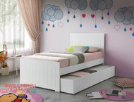 1. Single Louis Bed and Trundle - White