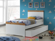 1. Louis Bed and Trundle - Oak And White