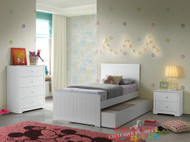 1. Single White Louis Bed 4 Piece Package