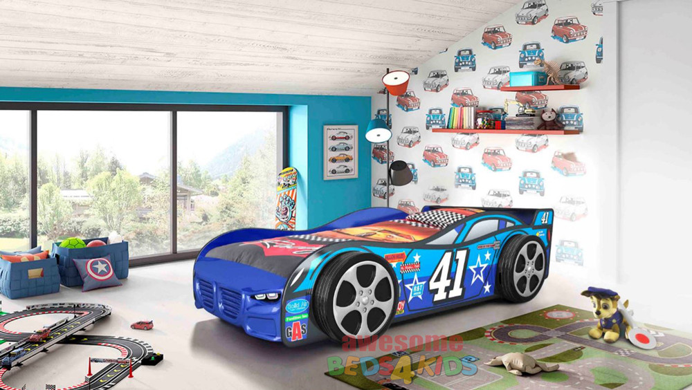 No 41 Car Bed is our latest design and far away the one of coolest car bed on the market! Big flash wheels and features a fiber glass front.