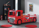 The Modern Red Fire Engine Bed with Led Head Lights (Battery Operated) features an exciting design with steering wheel.