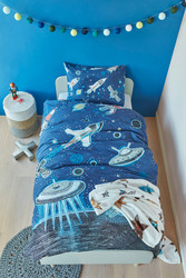 Space Blue Single 100% Cotton Quilt Cover