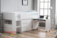 Awesome space saving midi sleeper. The Jupiter also features a free standing pullout desk on castors, three drawers on metal runners and cupboard with internal shelf plus two extra wide drawers at foot end of midi sleeper. White Only.