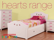 Hearts 4 Piece Suite features a solid curved shaped head & foot board, with heart cut outs in both. Single or King Single Trundle, Bedside Table & Tallboy.
