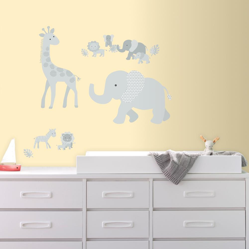 Tickle your little one with incredibly charming Baby Safari Animals Peel and Stick Giant Wall Decals from RoomMates Decor.