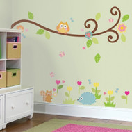 Surround your child with playful muted pastels and friendly forest creatures in RoomMates' Scroll Tree Branch Wall Decals.