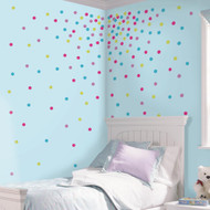 Illuminate a room with a burst of color and sparkle with these Multi Glitter Confetti Dots Wall Decals!